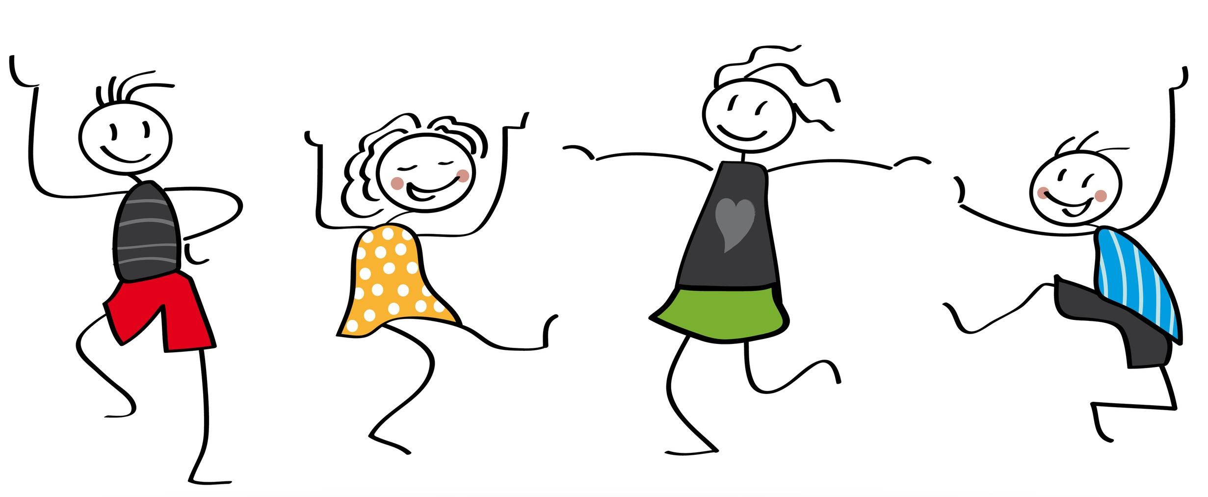 Freude, Strichmännchen, Freunde, Tanzen, Kinder | Duda.news