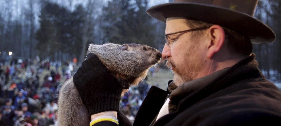 Gerade flüstert Phil dem Chef des Groundhog-Club zu, wann der Winter endet. Das glauben zumindest manche Amerikaner. (Foto: dpa)