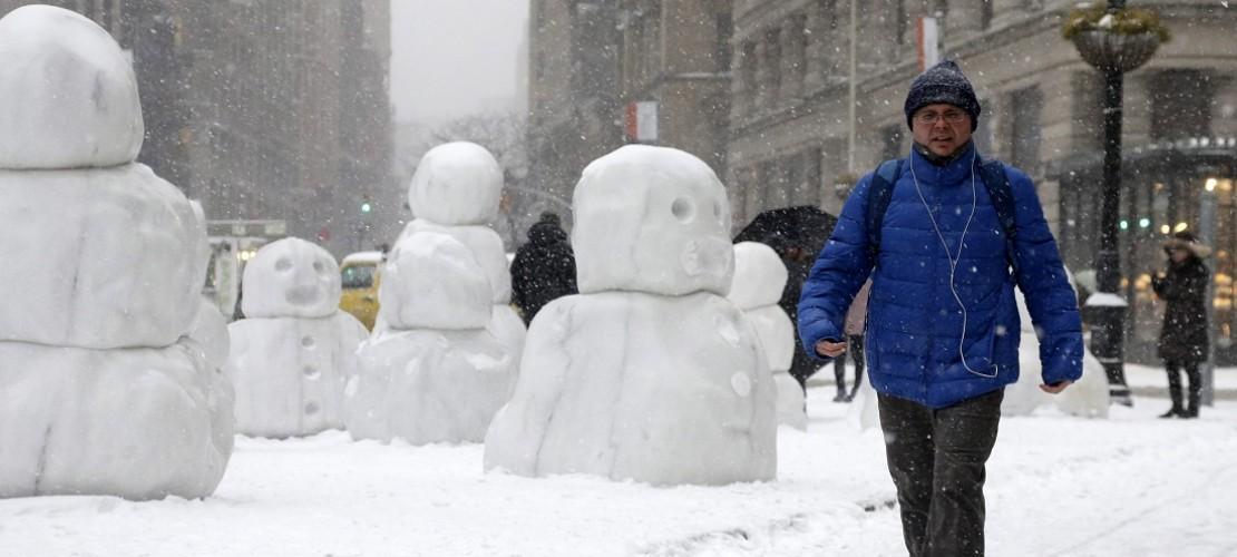 In der Stadt New York hatte es ziemlich heftig geschneit. (Foto: dpa)