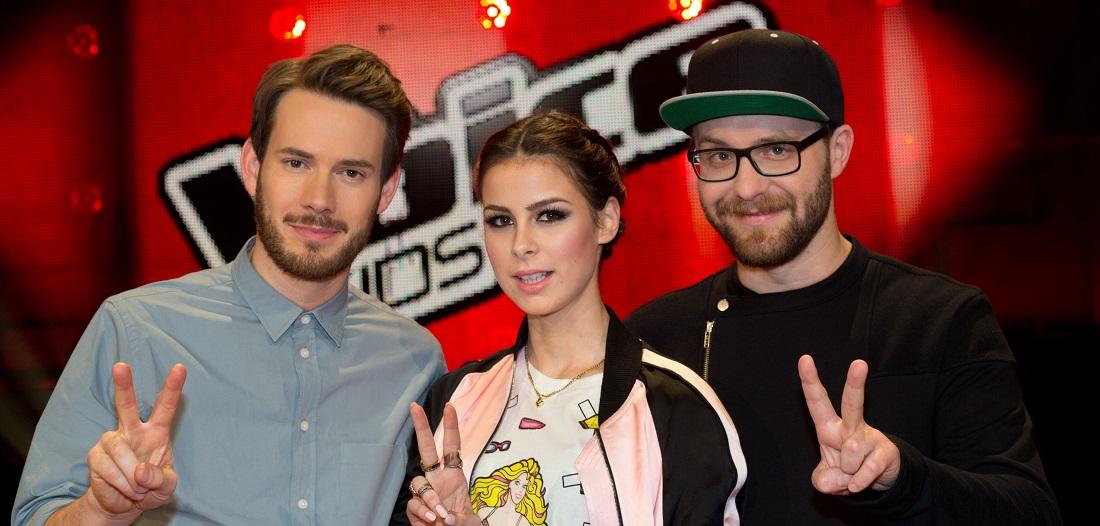 """Das ist die neue Jury von """"The Voice Kids"""": Johannes Strate, Lena Meyer-Landrut und Mark Forster (von links nach rechts). (Foto: dpa)"""