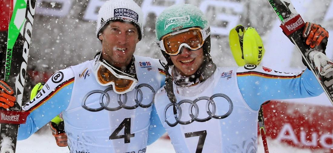 Grund zum Jubeln: Felix Neureuther (rechts) und Fritz Dopfer holten beim Slalom die Silber- und die Bronze-Medaille. (Foto: dpa)