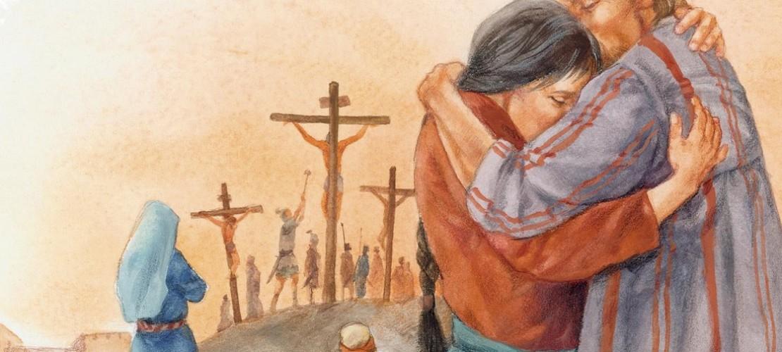 """So stellt die Künstlerin Ute Thönissen die Kreuzigung in """"Die Bibel erzählt für Kinder"""" dar. (Foto: dpa)"""