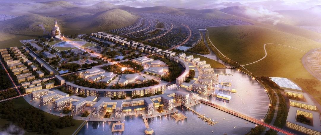 Das Foto zeigt eine Animation der geplanten Großstadt Maidar City in der Mongolei. Weil das Wasser in dem Land sehr knapp ist, sollen in zwei Seen Trinkwasser aus den Bergen gesammelt werden. (Foto: dpa)