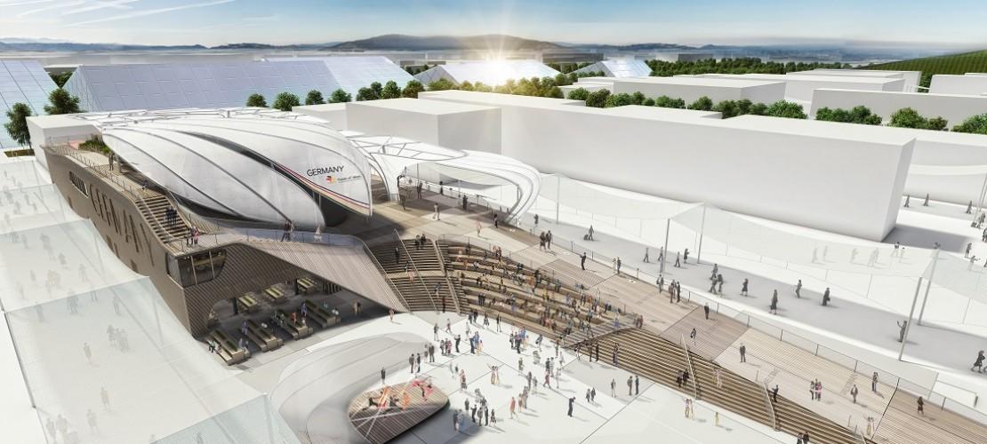 Experten zeigten schon mal am Computer, wie später der deutsche Pavillon aussehen soll. (Foto: dpa)