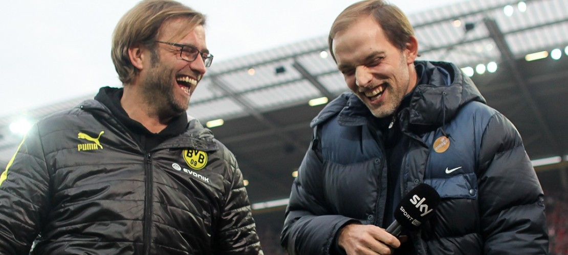 Der alte und der neue Trainer: Rechts steht Jürgen Klopp, links Thomas Tuchel. (Foto: dpa)