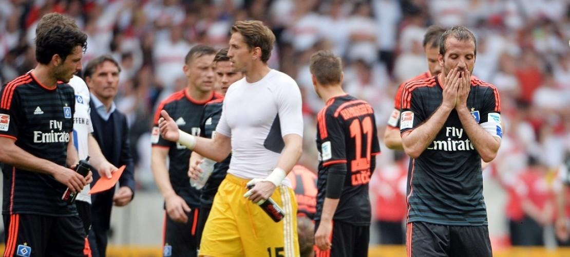 Die Spieler des Hamburger SV sind enttäuscht. Sie verloren am Wochenende mit 1:2 gegen Stuttgart. (Foto: dpa)