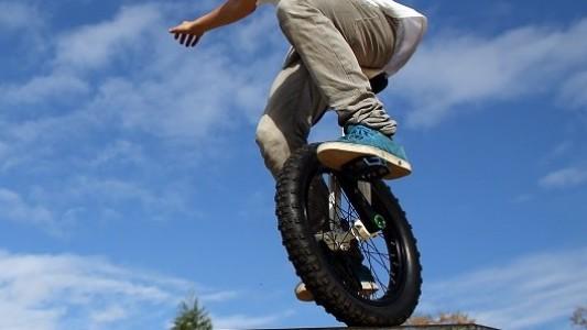 Der Trick beim Einrad-Fahren? Immer schön gleichmäßig treten. Mimo macht das hier vor. (Foto: dpa)