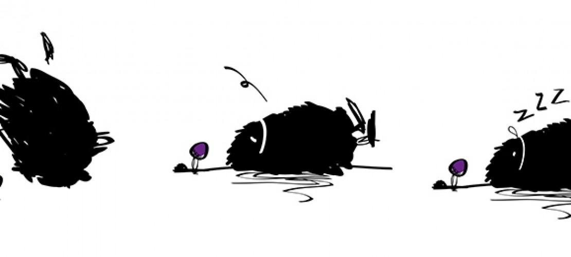 Der erste Entwurf: Duda als schwarzer Farbklecks.