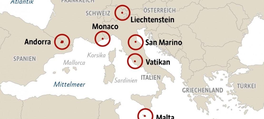 Sechs Zwerkstaaten liegen in Europa. Wir stellen sie dir vor. (Grafik: Böhme)