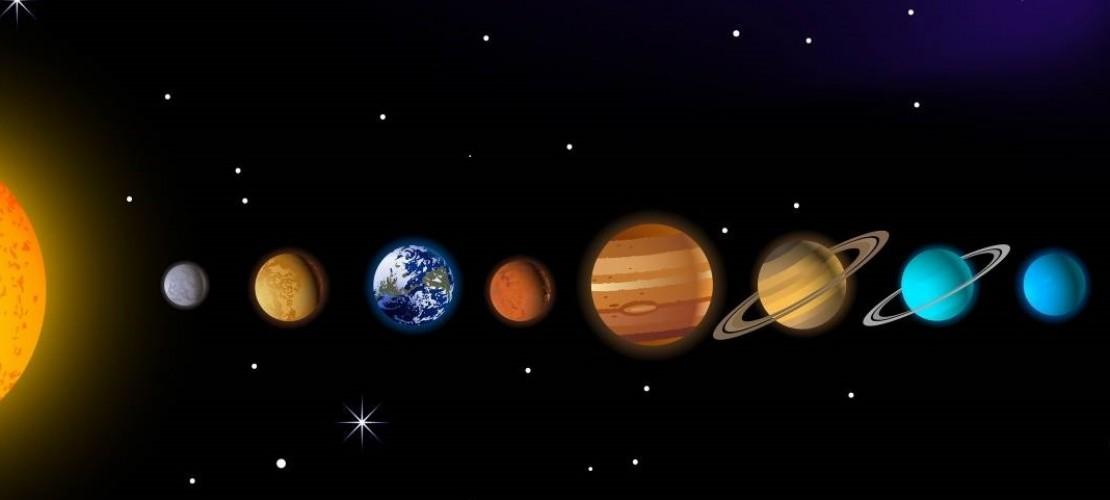 Sonne, Merkur, Venus, Erde, Mars, Jupiter, Saturn, Uranus und Neptun (von links) (Foto: Idesign2000/Fotolia)