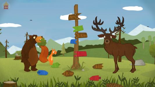 Spielen und dabei Sprache lernen? Das kannst du mit dem Eichhörnchen und dem Bären. (Foto: Screenshot)