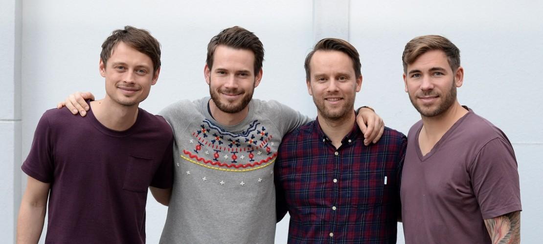 Jakob Sinn, Johannes Strate, Kristoffer Hünecke und Niels Grötsch (von links): Die Band Revolverheld gibt es schon seit mehreren Jahren. (Foto: dpa)