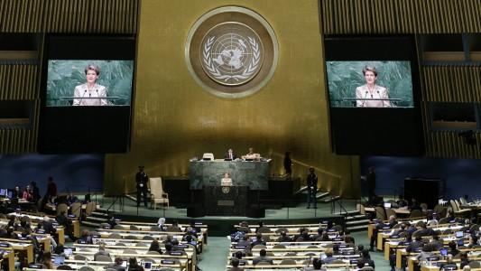 In diesem Saal in New York findet die UN-Vollversammlung statt. (Foto: dpa)
