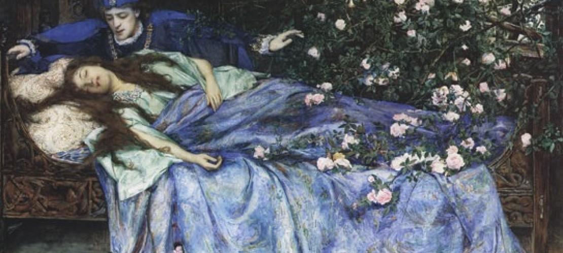 """Dornröschen schläft 100 Jahre. Dann kommt der Königssohn und küsst sie wach. (Foto: """"Henry Meynell Rheam - Sleeping Beauty"""" von Henry Meynell Rheam - Diese Datei hat keine Quelle.Bitte ergänze die Dateibeschreibung und gib eine Quelle an.. Lizenziert unter Gemeinfrei über Wikimedia Commons - https://commons.wikimedia.org/wiki/File:Henry_Meynell_Rheam_-_Sleeping_Beauty.jpg#/media/File:Henry_Meynell_Rheam_-_Sleeping_Beauty.jpg)"""