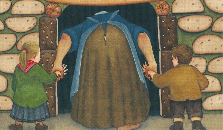 Die Hexe lockt Hensel und Gretel in ihr Haus. (Illustration: Heidelbach)