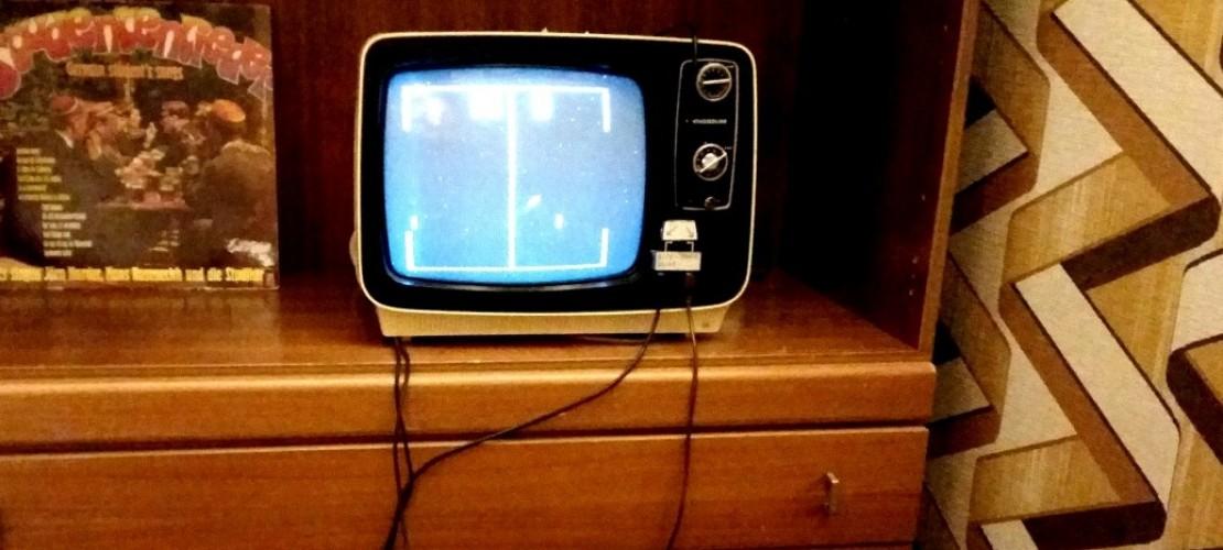 """""""Pong"""" von Atari wurde auf dem Fernseher gezockt. (Foto: Leister)"""
