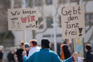 Protest gegen das Tanzverbot (Foto: dpa)