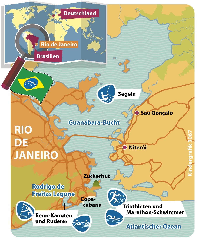 Rio De Janeiro Karte.Kindergrafik Karte Rio De Janeiro Und Guanabara Bucht