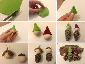 Die einzelnen Schritte für einen Tannenwichtel. Mit einem Klick vergrößerst du das Bild. (Foto: dpa)