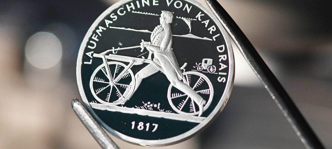 Münze für den Fahrrad-Erfinder