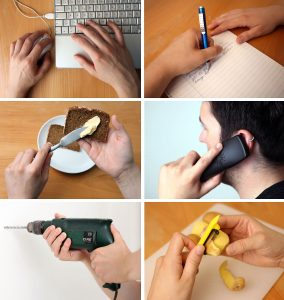 Wenn du - wie auf diesen Bildern - am liebsten mit der linken Hand arbeitest, gehörst du auch zum Linkshänder-Club. (Foto: dpa)