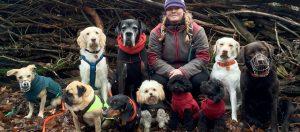 Dogwalkerin Nora Gohr zwischen zehn Hunden. (Foto: dpa)