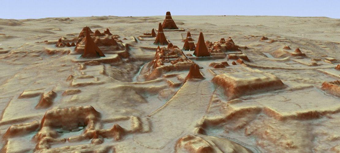 Dieses vom PACUNAM (Guatemala's Mayan Heritage and Nature Foundation) zur Verfügung gestellte, durch LiDAR Luftbildvermessung hergestellte 3D-Bild zeigt eine Darstellung der Ausgrabungsstätte einer Maya-Stadt.
