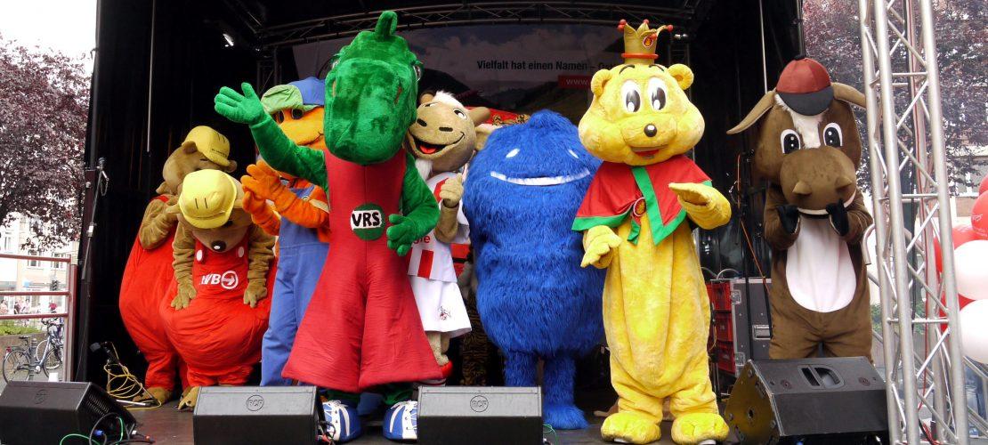 Am Wochenende kannst du Duda und seine Maskottchenfreunde beim Kinderfest besuchen. (Foto: Archiv)