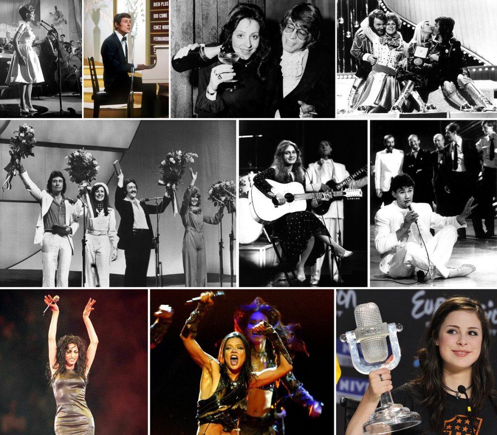 Gewinner des europäischen Liederwettbewerbs Eurovision Song Contest (ESC), oben von links nach rechts: Lys Assia (für die Schweiz, 1956), Udo Jürgens (für Österreich, 1966), Vicky Leandros (für Luxemburg, 1972), Abba (für Schweden, 1974), Mitte l-r: Brotherhood of Man (für Großbritannien, 1976), Nicole (für Deutschland, 1982), Johnny Logan (für Irland, 1987), unten l-r: Dana International (für Israel, 1998), Ruslana (für Ukraine, 2004) und Lena Meyer-Landrut (für Deutschland, 2010). (Fotos: dpa)