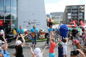 DUDA Sommerfest am Schokoladenmuseum mit der Kinder Rockband Pelemele Foto: Martina Goyert