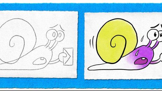 Schneckenpost-Comic in vier Schritten