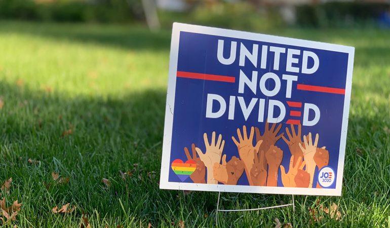 Wahlplakate im Vorgarten